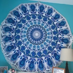Other - Blue Round Wall Tapestry